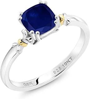 Gem Stone King 925 Silver and 10K Yellow Gold Blue Sapphire Women Engagement Ring (1.30 Ct Cushion, Available in size 5, ...