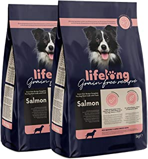Marchio Amazon - Lifelong Alimento completo per cani adulti, Salmone fresco - 5 kg * 2