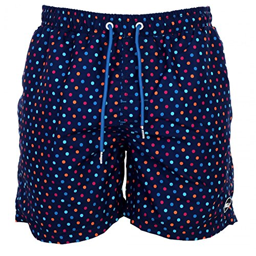 Happy Shorts Herren Badeshorts Strandshorts Shorts DOTS Druck blau S - XXL, Gr�sse:S - 4-48, Farbe:Marine