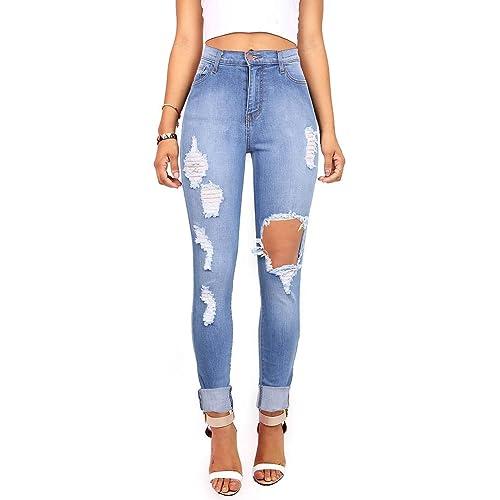 265f82cb71c Vibrant Women's Juniors Ripped Rise Skinny Jeans