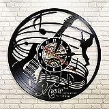 zgfeng La música es la Voz del Alma Disco de Vinilo Reloj de Pared Guitarra eléctrica Instrumento Musical Guitarrista Reloj de Pared Moderno