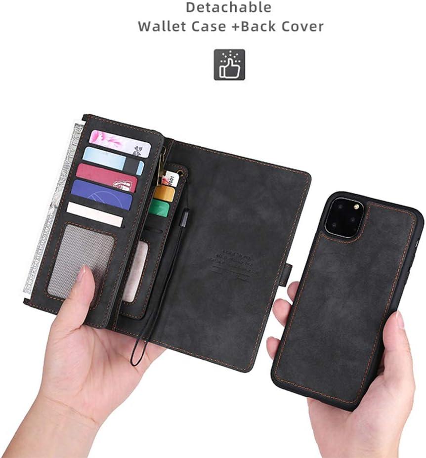 iPhone 11 Pro Wallet Case,KelaSip 2 in 1 Leather Zipper Leather Flip Cell Phone Cases & Card Holder Buckle Magnetic Detachable Loose-Leaf Clip,Black
