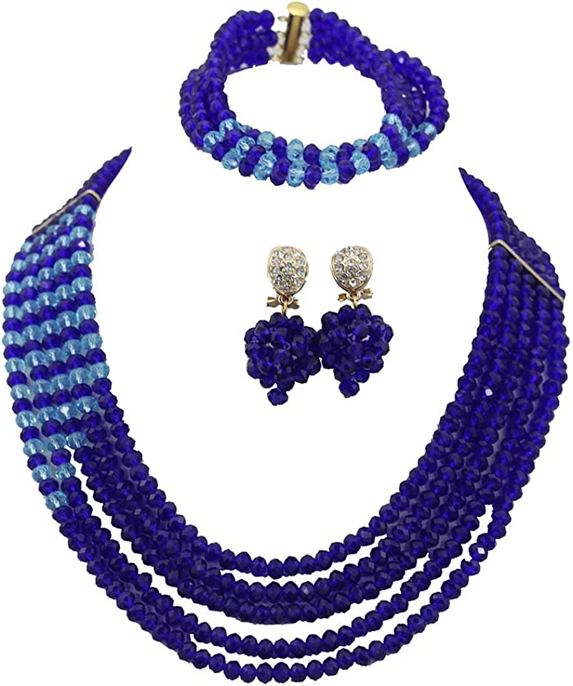 Africanbeads 5 Rows Royal Blue Crystal Jewelry Set Handmade African Wedding Necklace Bracelet Earrings Set