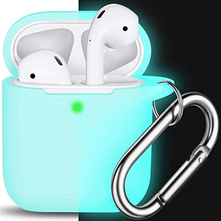 AirPods Case Cover with Keychain, Full Protective Silicone AirPods Accessories Skin Cover for Women Men Girl Boy with Apple AirPods Wireless Charging Case,Front LED Visible-Glow Blue