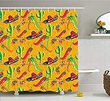 SHUHUI Elements - Cortina de Ducha con diseño de Chile Pimienta sobre Fondo de Grava, Tela para decoración de baño con Ganchos, 180 cm, Extra Larga