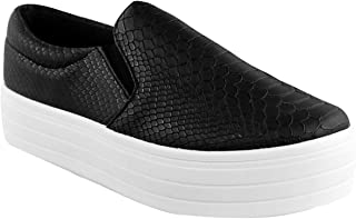 Fashion Thirsty Womens High Skaters Flatform Sneakers Slip On Plimsolls Pumps Shoes