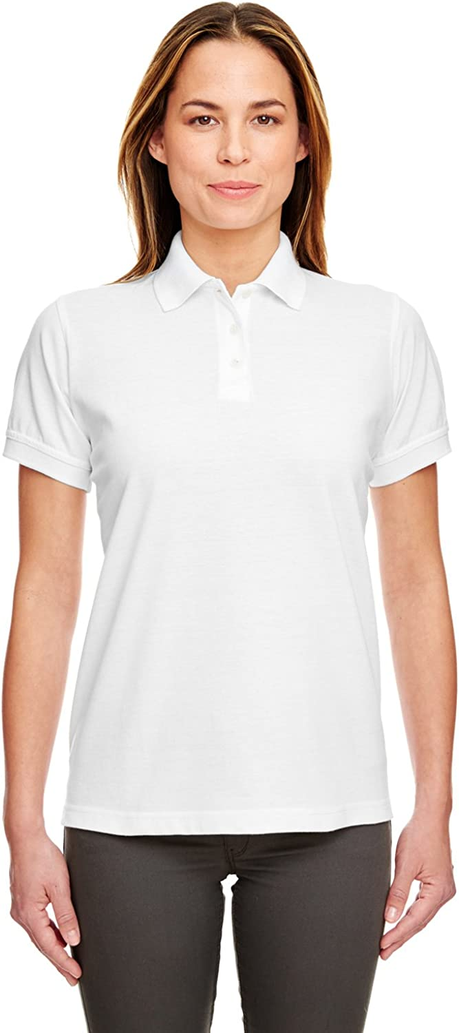 UltraClub Ladies' Classic Piqué Polo Shirt, White, Small. (Pack of 10)