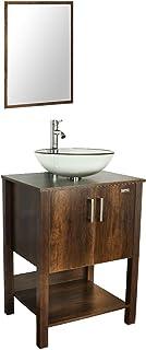 24/'/' Bathroom Vanity W// Drop in Rectangle Sink Set Mirror White Cabinet MDF