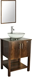 "eclife 24"" Bathroom Vanity Sink Combo Brown Cabinet W/Round Clear Tempered Glass Vessel Sink, Chrome Bathroom Solid Brass Faucet and Pop Up Drain Combo, W/Mirror (A16 B12C)"
