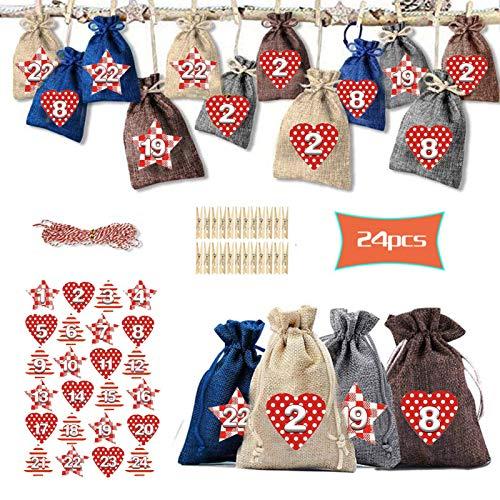 Bolsas De Calendario De Adviento - 24 Bolsas De Calendario De Adviento De Navidad 2020 - Bolsas De Adviento De Bricolaje Con 1-24 Pegatinas, 24 Clips De Madera Y Cuerda De Cáñamo De 10 M
