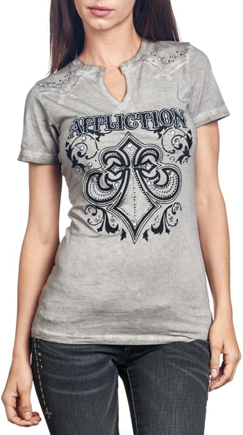 Affliction Women's Short Sleeves Vneck Fleur Rhinestone Tee