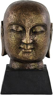 Urban Trends Resin Bald Buddha Head on Trapezoidal Base with Tarnished Finish, Gold