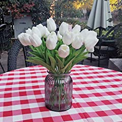 Idea Regalo - Awtlife - 24 tulipani finti in lattice, per bouquet fai-da-te, matrimoni, feste nuziali, feste del nascituro, decorazione per la casa, colore: bianco