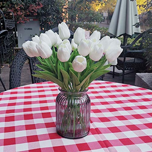 Awtlife - 24 Tulipanes de Flores Artificiales de látex, Tacto Real para Ramos, Bodas, Fiestas, Baby Shower, decoración del hogar, Color Blanco
