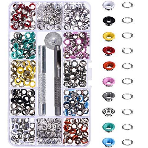 300 Piezas Kit de Ojetes Ojales de Metal Coloridos con Herramientas de Instalación Artesanía de Zapatos Ropa, 10 Colores (3/16 Pulgada)