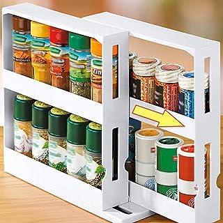 ZARQ Porte-épices, 2 Niveaux Porte-épices Rotatif Extractible Cuisine Placard Étagère de Rangement Étagère à Épices Pots d...