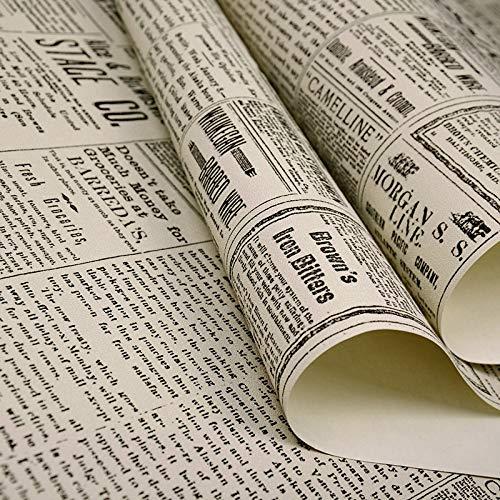 Vinilos Cocina Azulejos Retro Americana Vieja Inglés Alfabeto del periódico Ropa Tienda de Papel Pintado de café Bar de Papel de Pared de PVC Decoración (Color : P05501, Dimensions : 10mX0.53m)