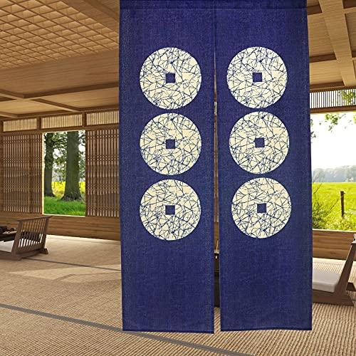"""Cortina de puerta japonesa Noren para decoración del hogar, de LIGICKY, poliéster y mezcla de poliéster, Seis monedas, 33.5""""x59"""""""