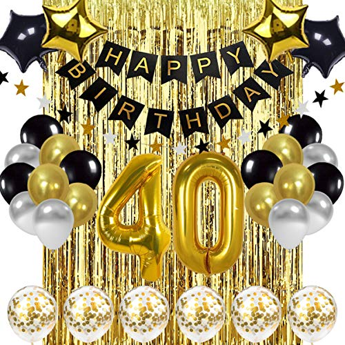 Black and Gold 40th Birthday Decorations Banner Balloon, Happy Birthday Banner, 40th Gold Number Balloons, Number 40 Birthday Balloons, 40 Years Old Birthday Decoration Supplies