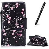 Slynmax Kompatibel mit Huawei P10 Plus Hülle Leder,Huawei P10 Plus Handyhülle Handseil Ledertasche Flip Wallet Case Lederhülle Silikon Tasche Schutz Brieftasche Schutz Huawei P10 Plus,Schwarze Blumen