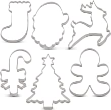 LILIAO Christmas Cookie Cutter Set - 6 Piece - Christmas Tree with Star, Santa Face, Gingerbread Man, Reindeer, Candy Cane with Bow and Stocking Biscuit Fondant Sandwich Cutters - Stainless Steel