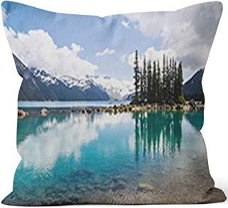 Nine City Emerald Waters of Garibaldi Lake Reflect Bottle Green Tree Silhouettes Throw Pillow Cushion Cover,HD Printing Decorative Square Accent Pillow Case,18