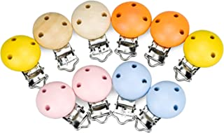 Demason 10 stuks houten fopspeen clip, fopspeen clip voor baby's, jongens meisjes, hout en metaal, ronde ontwerp fopspeen ...