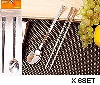 [KITSM SENSE] ステンレススチールスプーンと箸6セット / Stainless Steel Spoon and Chopsticks 6Set / クリスタルパターン/Crystal pattern/食器/tableware/韓国台所/Korean Kitchen [並行輸入品]