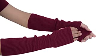 Women Winter Knit Fingerless Gloves Hand Crochet Thumbhole Warm Mittens Knitted Long Arm Warmers