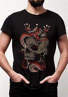 Camiseta Caveira Rei serpente - coroa moto motociclista rock