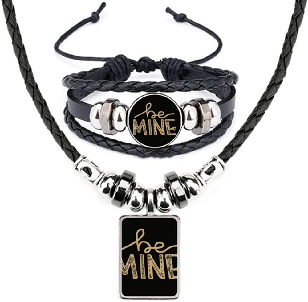 Be Mine Gold Quote Handwrite Jewelry S Necklace Leather Bracelet Special price for low-pricing a limited time