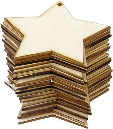 F Fityle 20 Piezas Rectangulares Cuadrados Madera Decorativo para Bricolaje Hogar Arte Ornamento