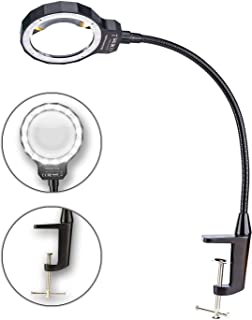 KOTTO LED Lighted Magnifying Glass with Built-in Clamp, Flexible Handle, and 300% Magnifying Power for Work Bench Task Craft