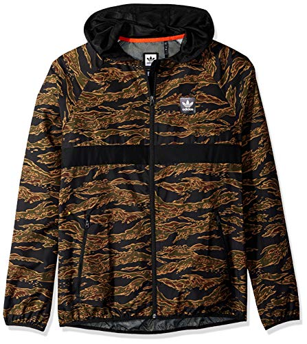 adidas Originals Men's Skateboarding Camo All Over Print Packable Wind Jacket, Black/Collegiate Orange, M