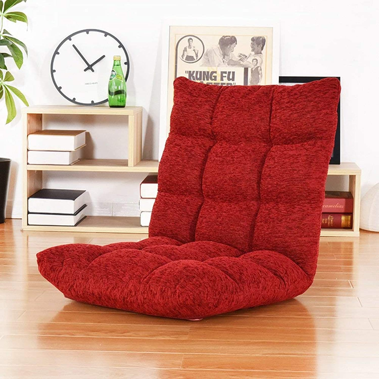 Lazy Floor Sofa, Lazy Sofa Single Bed Chair Floor Folding Sofa Bed (color   Red)