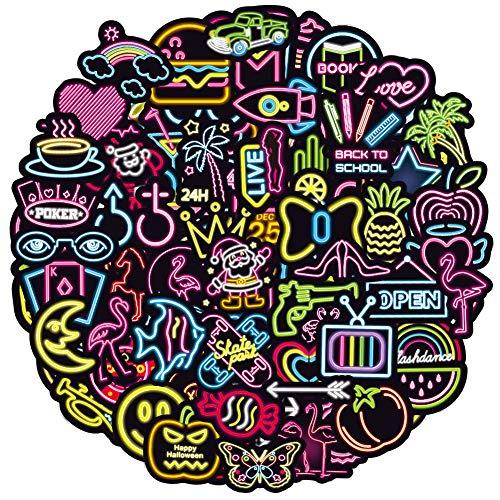 RGBEE Wasserfeste Aufkleber Sticker Set 100 Stücke, Graffiti Decal Vinyl Neon Aufkleber für Laptop Koffer Helm Motorrad Skateboard Auto Fahrrad Computer Vintage Aesthetic Sticker für Kinder Teenager