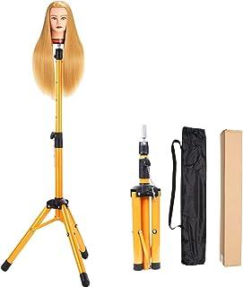 Heavy Duty Wig Stand Tripod - Alileader Canvas Block Head Tripod Metal Adjustable Tripod Stand Holder for Hairdressing Head Mannequin Manikin Head Tripod(Golden,Mannequin Head Not Included))