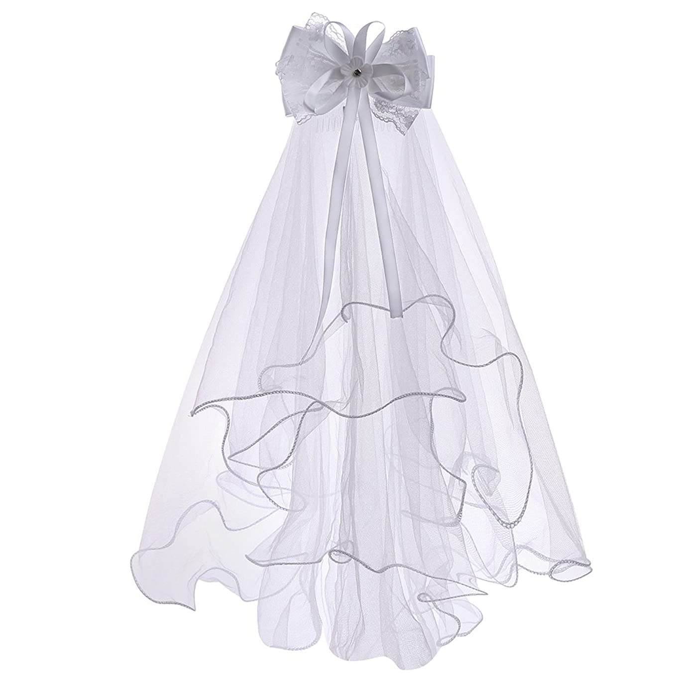 White Floral First Communion Veils for Girls