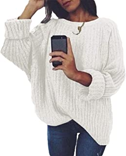 Womens Loose Solid Sweater Fuzzy Knitted Jumper Pullover Outwear