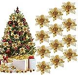 BETOY 16 pcs Flores para Navidad,Christmas Tree Ornament,Flores Artificiales Decoraciones �rbol Navidad Boda Fiesta DIY Color Dorado,Glitter Flores Navidad Boda Decoraciones de Navidad de la Fiesta