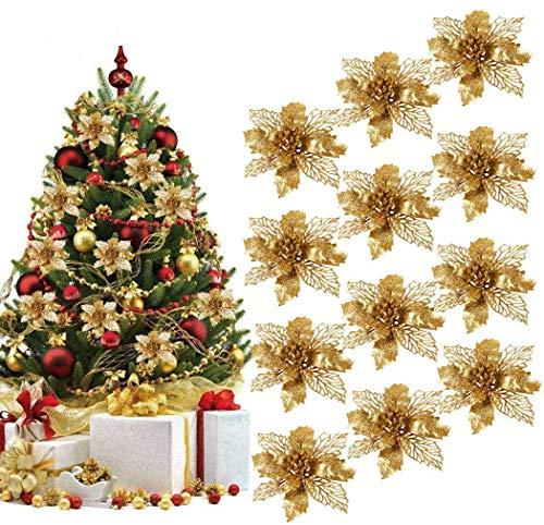 BETOY 16 pcs Flores para Navidad,Christmas Tree Ornament,Flores Artificiales Decoraciones Árbol Navidad Boda Fiesta DIY Color Dorado,Glitter Flores Navidad Boda Decoraciones de Navidad de la F