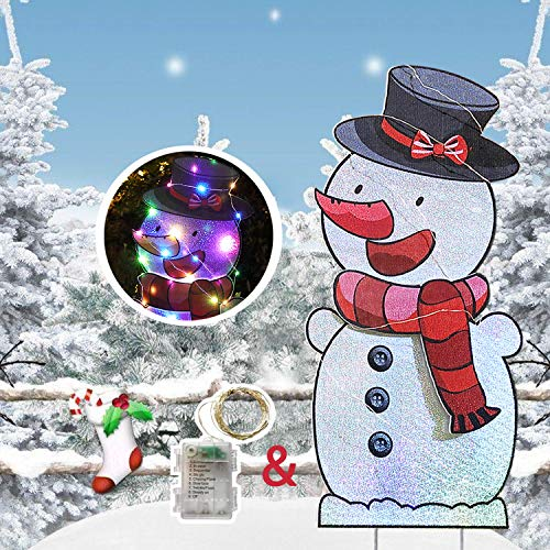 HOME COMPOSER Snowman for Christmas Decorations - 40In Xmas Yard Stake Signs with String Lights- New Year Decor Outdoor for Lawn Pathway Walkway