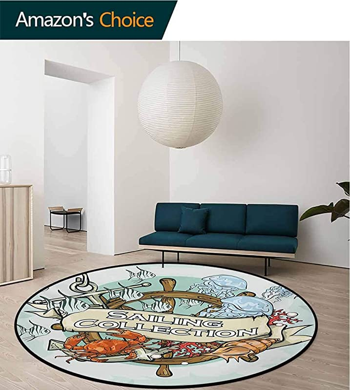 RUGSMAT Nautical Modern Machine Washable Round Bath Mat Sailing Collection Old Times Fisherman Ribbon Fishing Sea Food Crab Non Slip Soft Floor Mat Home Decor Diameter 35 Inch Mint Green Multicolor