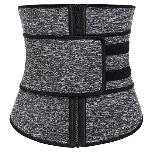 FeelinGirl Women's Neoprene Workout Top Shirt Waist Trainer Corset Trimmer Belt Body Shaper Cincher Zipper Slimming L Grey