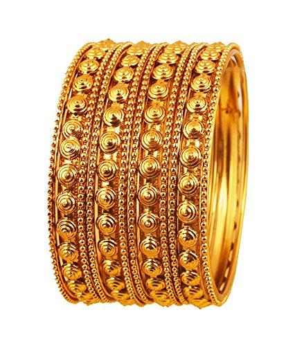 Touchstone Armreif Kollektion Indischer Bollywood Putz Look Exklusive Prägung Designer Schmuck Armreifen Armbänder für Damen 2.25 Set von 12 Gold