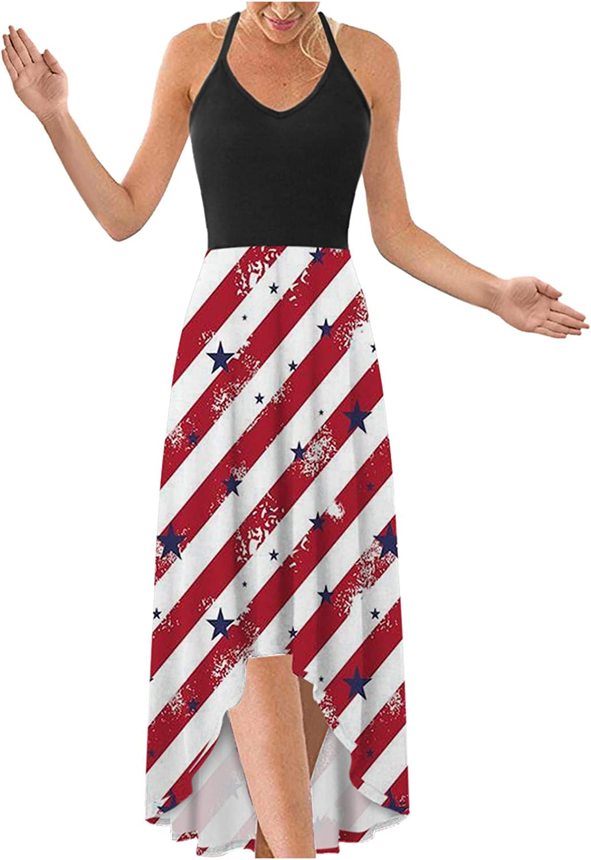 Dress for Women Casual, Sleeveless V-Neck Maxi Dress 4th of July Cami Long Sling Dress American Flag Sundress