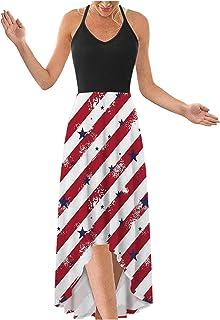 فساتين الصيف للنساء الوطني الأمريكي العلم ماكسي فستان كامي بلا أكمام فستان الشاطئ فستان الشمس فساتين الحفلات