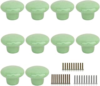Marstree 10pcs Vintage Ceramic Door Knobs Round Shape Drawer Cupboard Locker Pulls Handles Wardrobe Drawer Cabinet Home Kitchen Hardware (Green)