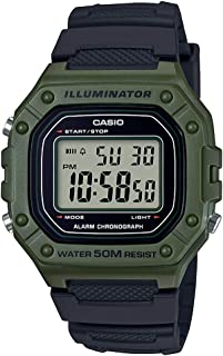 Casio Mens Quartz Watch, Digital Display and Resin Strap W-218H-3AVDF