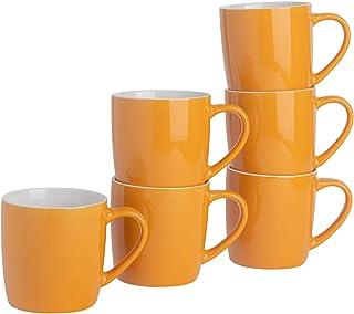 Rink Drink Argon Tableware Thé Tasse à café - 6pc Contemporain de Couleur Tasses en céramique Set - 350ml - Jaune - Paquet...
